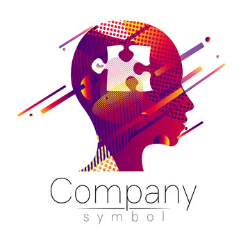 Modern head logo of Company Brand . Profile Human with puzzle. Fluid style. Logotype in vector. Design concept. Gradient liquid isolated on white background. Abstract geometric shapes. violet color
