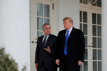 U.S. President Trump welcomes Colombian President Duque to the White House in Washington