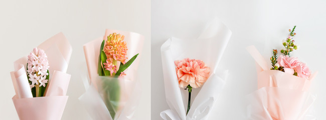 Spring flowers. Fresh bouquets with hyacinth and carnation in minimal style on light background. Top view, spring flat lay. Love and gift concept. Long banner