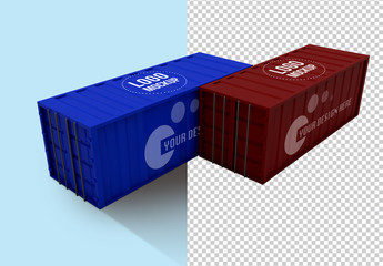 2 Shipping Containers Mockup