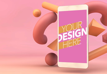 Smartphone Mockup with Floating Shapes