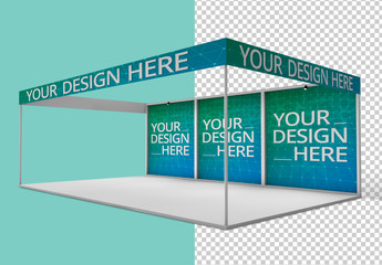Kiosk with Panels and Banners Mockup
