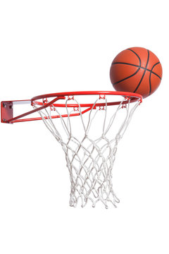 Basketball on a rim with net isolated on white