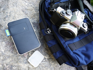 Professional digital SLR camera with photo bag. This camera is suitable for professionals and Amateurs to make anywhere, such as traveling beautiful photos