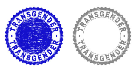 Grunge TRANSGENDER stamp seals isolated on a white background. Rosette seals with distress texture in blue and gray colors. Vector rubber stamp imitation of TRANSGENDER label inside round rosette.