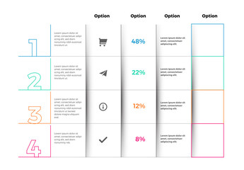 Infographic Table Layout with Colorful Outlines