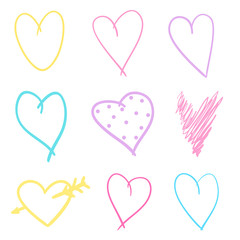 Multicolored sketchy hearts on isolated white background. Hand drawn set of love signs. Line art creation. Colored illustration. Elements for poster or flyer