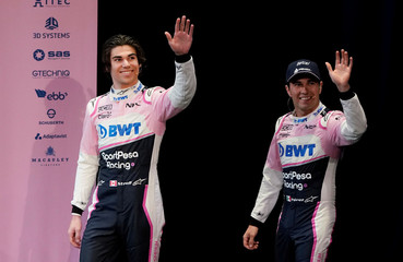 SportPesa Racing Point F1 Team drivers Perez and Stroll arrive to unveil their team's new car livery at a pre-season launch event at the Canadian International AutoShow in Toronto