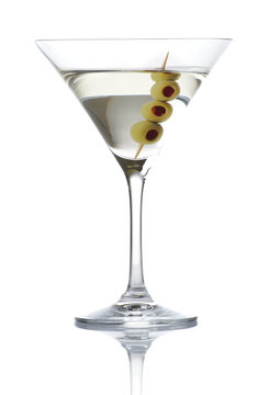 Classic dry martini with olives isolated on white background