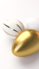 Happy Easter Luxury background with golden and white eggs