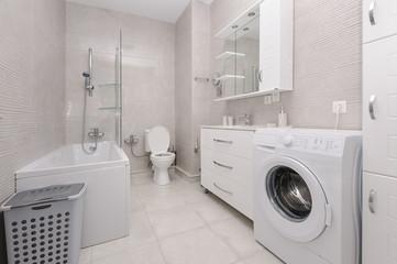 Modern white and kight beige bathroom