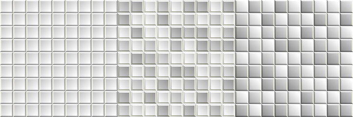 Set of seamless black-and-white mosaic tiles textures. Grayscale vector background