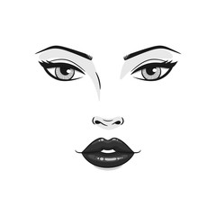 Beautiful young woman face close up. Fashion model face, black and white vector illustration.