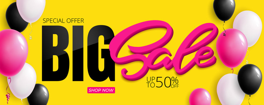 Special offer Big Sale banner template vector design. Colorful air balloons
