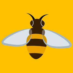 Wall Mural - Bee cartoon on yellow background - Vector
