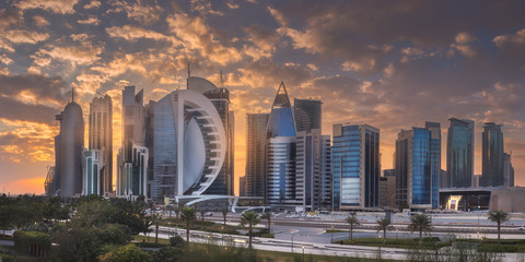 View of park and building in Doha City Center