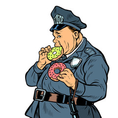 cop eats donut. isolate on white background