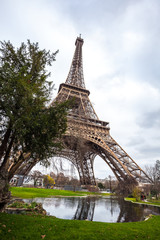 The Eiffel Tower in Paris shot against the sky