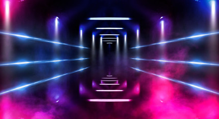 Background wall with neon lines and rays. Background dark corridor with neon light. Abstract background with lines and glow. Wet asphalt, neon smoke.