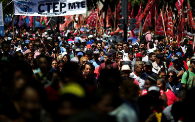 Demonstrators march during a protest against the increase of public rates, in Buenos Aires