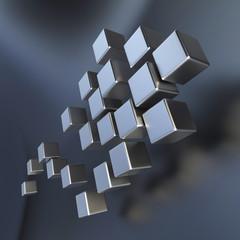 Flying metallic cubes b
