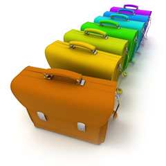 leather briefcases in rainbow colors