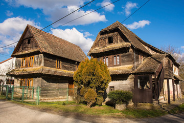 Historic wooden buildings in the small village of Cigoc Village in Sisak-Moslavina County, central Croatia