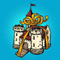 gift ribbon medieval castle, fairy kingdom. real estate