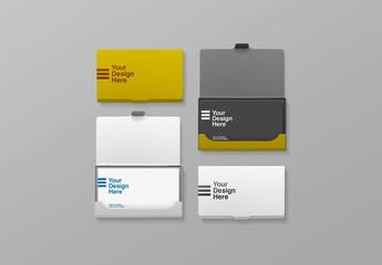 Four Metal Business Card Holder Mockups