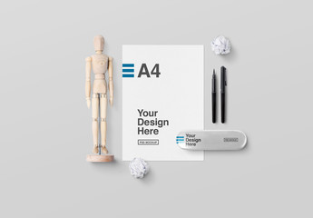 Letterhead and Artists' Mannequin with Accessories Mockjup