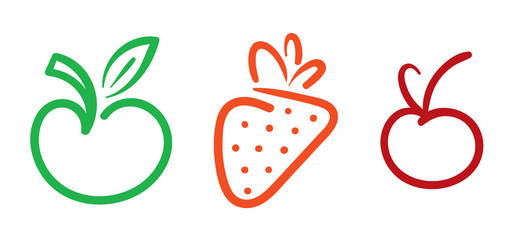 hand drawing apple, strawberry and cherry symbol