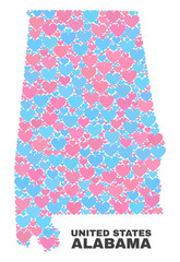 Mosaic Alabama State map of lovely hearts in pink and blue colors isolated on a white background. Lovely heart collage in shape of Alabama State map. Abstract design for Valentine decoration.