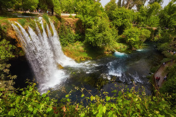 The scenic lush green park surrounds the gorge with Upper Duden Waterfall, the popular tourist place, Antalya, Turkey.