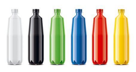 Bottles for juice, dairy drinks and other. Colored, not transparent version