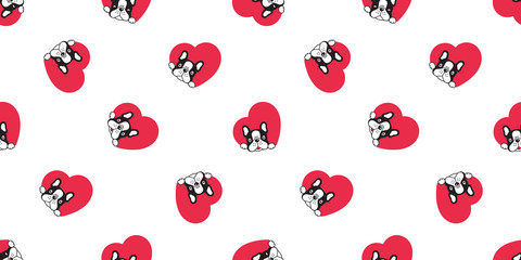 Dog seamless pattern french bulldog vector heart valentine scarf isolated repeat wallpaper tile background cartoon illustration black