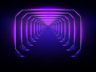 Endless futuristic tunnel glowing neon illumination vector