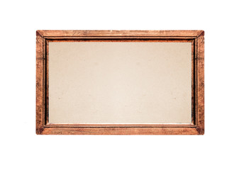 Antique vintage picture frame isolated on white background.