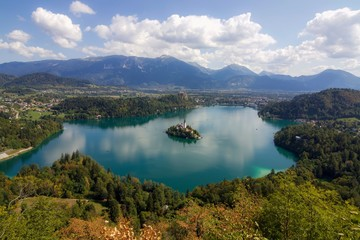 Beautiful View of Lake Bled with Alpine Mountains in Background