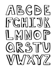 Black alphabet for your banners or invitations. Set of handdrawn letters made in vector isolated on white background