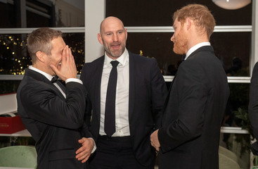 Britain's Prince Harry attends a Q&A session at reception to promote rugby across society, in London
