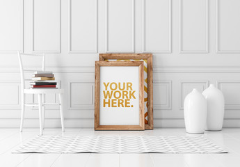 Wooden Framed Print in White Room Mockup
