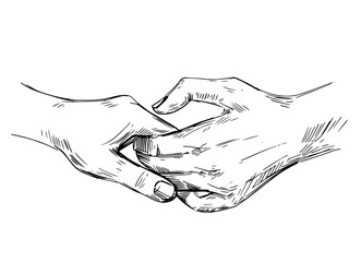 Hold hands. Sketch illustration isolated on white background