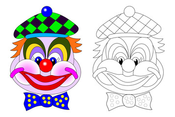 Portrait of funny clown. Colorful and black and white page for baby coloring book. Worksheet for children and adults. Vector cartoon image.