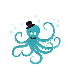 Cute cartoon octopus in a hat and bow-tie.