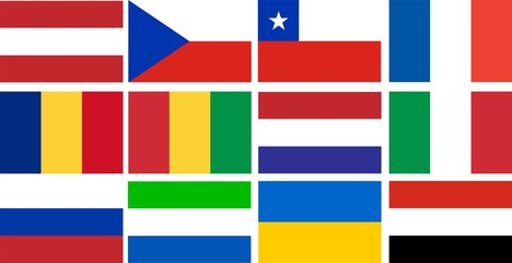 national flags of several countries in compliance with the size and colors Yemen, Italian, Romanian, Ukraine, Sierra Leone, Russian, France, Chilie, Guinea, Holland, Austria, Chech