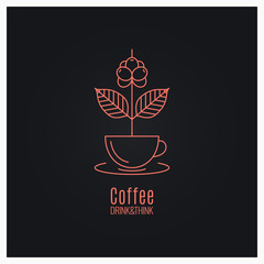 Coffee cup logo. Coffee branch concept on black