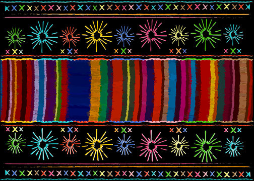 Mexican ethnic embroidery, Tribal art ethnic pattern. Colorful Mexican Blanket Stripes Folk abstract geometric repeating background texture, Vector striped Fabric design multi color background