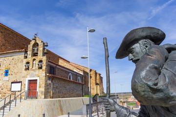 Statue of a pilgrim in Astorga, Spain
