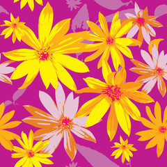 Design of abstract wildflowers on a pink background. Flowering garden. Seamless  pattern of elegant  yellow  flowers. Floral light  background for textile, fabric, wallpapers, print, decoupage.