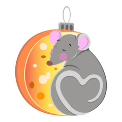 New Year 2020. Year of the rat. Year of the mouse. Christmas tree toy in the form of a mouse, rat.